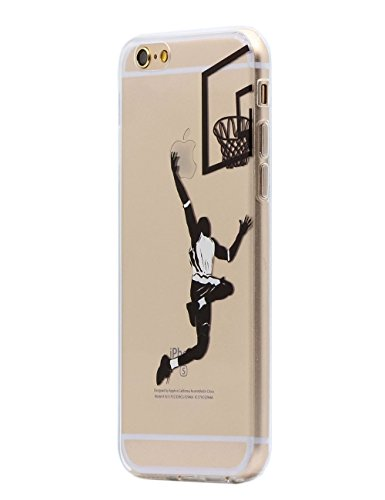 Keyihan iPhone 6 / 6S Hülle, Komisch Muster Ultra Leicht Dünn Durchsichtig Transparent klar Weiche TPU Silikon Handy Schutzhülle Case für Apple iPhone 6 / iPhone 6S (4,7 Zoll) (Basketball Layup)