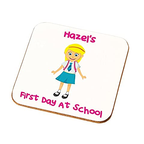 Girls Daughters Nieces Granddaughters Personalised First Day at School Coaster Gift By Crazy Tony's (Blonde Hair White
