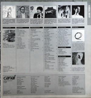 CANAL du 01-07-1984 MURS PEINTS - BERNAR VENET - NILS-UDO - KAROLE ARMITAGE - L'ETAT ET LES GALERIES - CLAUDE MOLLARD - MATTA - L'OEUVRE D'ART TOTALE - PETER RUPP - DENISE RENE - SEMP