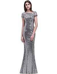 0e0cee6c7415ba MisShow Damen Lang Pailletten Abendkleid Brautjungfernkleid Rückfrei  Ballkleid Hochzeitkleider…