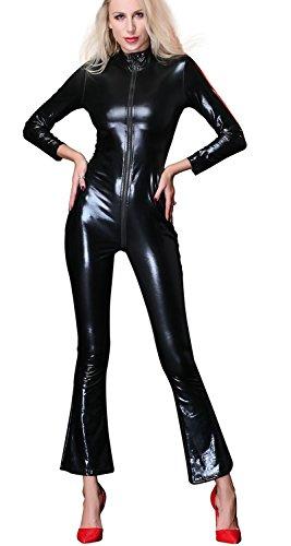 r Lingerie Wet Look Catsuit Sexy Unterwäsche Lange Ärmel Reizwäsche Bodysuit Clubwear,XXL (Bauen Sie Ihre Eigenen Kostüm)