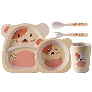 Juego de cubiertos para niños de fibra de bambú, plato de dibujos animados para el compartimento del bebé, suplemento para alimentos para el hogar, tazón, cuchara, tenedor, cinco piezas, hámster