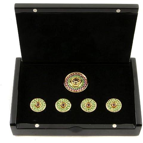 RMC Martin Ksohoh pietre preziose granato verde personalizzata pulsante set in confezione regalo