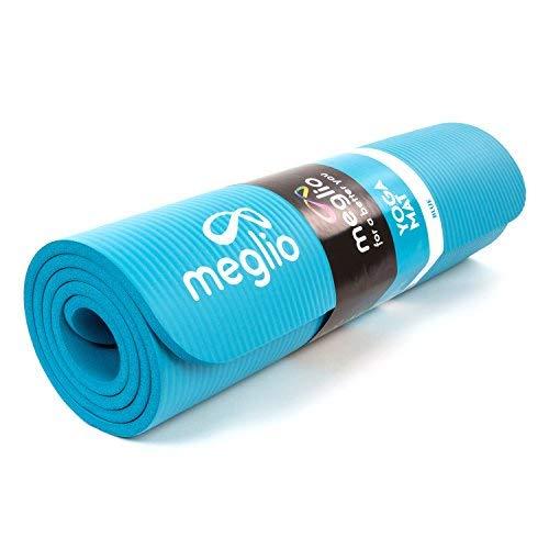 Tappetino Meglio Anti-Scivolo - Spessore 10mm in NBR - per tutti i tipi di Esercizi, Fitness, Yoga, Pilates, Palestra e Allenamenti - Con Fascia per Trasporto (Blu (10mm))