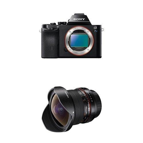 Sony Alpha 7s nur Gehäuse (12,2 Megapixel, 7,6 cm (3 Zoll) LCD Display, Full HD, Unkomprimierter Output via HDMI (4K/Full HD), Silent Shooting Modus, staub- und feuchtigkeitsgeschützt) schwarz + Walimex Pro 12mm f/2,8 Fish-Eye Objektiv DSLR  für Sony E-Mount Bajonett schwarz