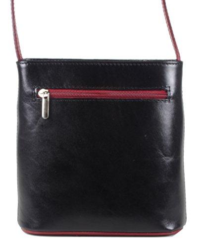 taschenTrend - Mollani kleine Umhängetasche Ausgehtasche Leder Handtaschen Glattleder Abendtasche Crossover Bags Damen Freizeit Schultertaschen 18,5x18x7 cm (B x H x T) schwarz/bordeaux