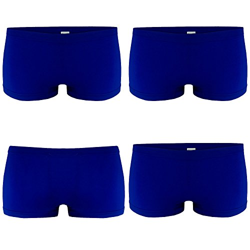 Blau Panty (4er Pack Damen Boxershorts Panties in Blau GR. L/XL Unterwäsche Hot Pants)