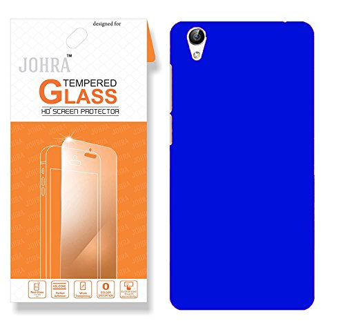 Vivo Y51L Back Cover, Johra Real HD+ Tempered Glass Combo Hard Plastic Dark Blue Rubberised Back Cover for Vivo Y51L Tempered Glass