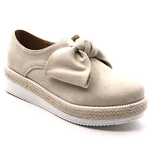 Angkorly - Zapatillas Moda Mocasines Zapato Derby Plataforma Slip-on Mujer Nodo Cuerda Trenzado Plataforma...