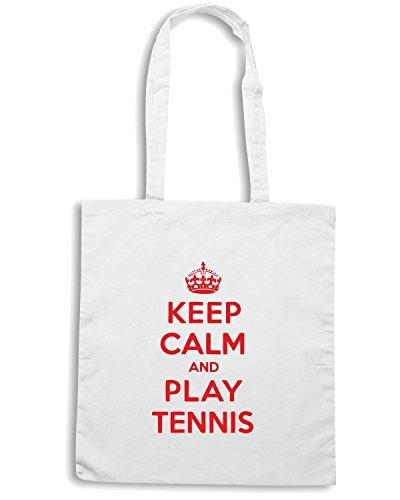 T-Shirtshock - Borsa Shopping OLDENG00154 keep calm play tennis Bianco