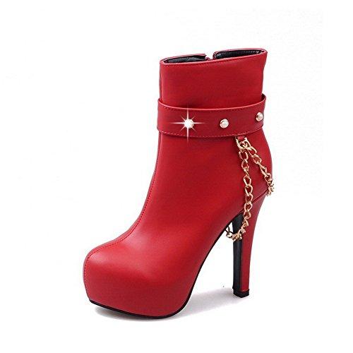AllhqFashion Damen Reißverschluss Rund Zehe Niedrig-Spitze Stiefel mit Juwelen, Rot, 39