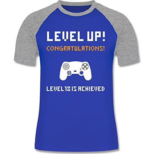 Shirtracer Geburtstag - 18. Geburtstag - Gamer Level 18 - Herren Baseball Shirt Royalblau/Grau meliert