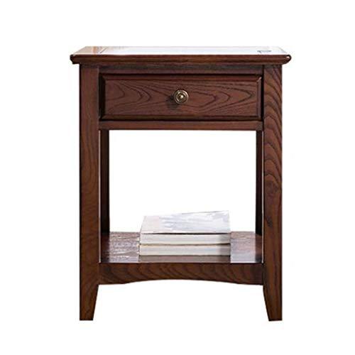 Braun Lagerung Couch (T-Day Beistelltische Nachttisch Tische Couchtisch Massivholz quadratischen kleinen Couchtisch, einfache Wohnzimmer Couch Ecktisch, Schlafzimmer Lagerung Lesetisch mit Schublade (Color : A))