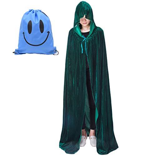 Myir Unisex Umhang mit Kapuze Samt Halloween Umhang für Erwachsene Kinder Cosplay Vampir Kostüm Halloween Kostüm (Grün Samt, - Grünen Umhang Kostüm