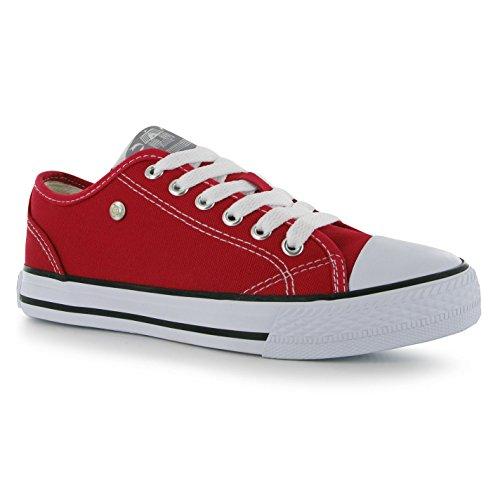 Dunlop Damen Canvas Sneaker Turnschuhe Freizeit Sport Schuhe Leinenschuhe Red/Weiß