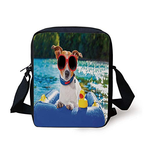 Funny,Jack Russell Dog with Sunglasses Sitting on The Lake Beach Puppy at Beach Picture,Multicolor Print Kids Crossbody Messenger Bag Purse