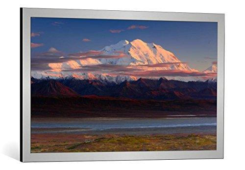 kunst für alle Bild mit Bilder-Rahmen: Roberto Marchegiani Denali National Park - dekorativer Kunstdruck, hochwertig gerahmt, 90x55 cm, Silber gebürstet