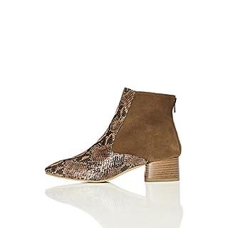 FIND Damen Ankle Boots aus Velours-Kunstleder, Beige (Tan/snake), 39 EU