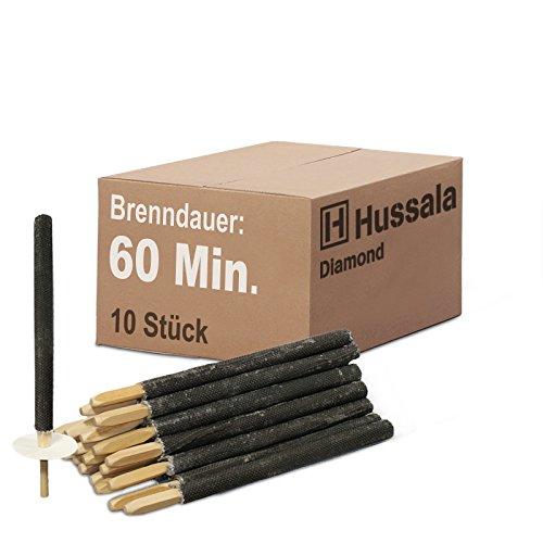 Hussala - Diamond Wachsfackeln Brennzeit 60 min Garten-Fackeln [10 Stück]