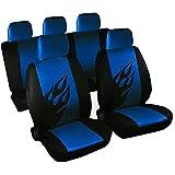 Universal Sitzbezüge für Auto Schonbezüge Sitzbezug Schonbezug Set Sitzschoner Komplettset Schwarz-blau 7222