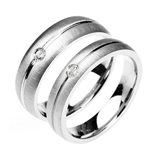 Bishilin 2 Pcs Edelstahl Paar Ring Edelstahlring Weiß Zirkonia Rund Hochzeitsring Paarringe Silber Demen Gr. 52 (16.6)&Herren Gr. 62 (Kostüme Luna Online)