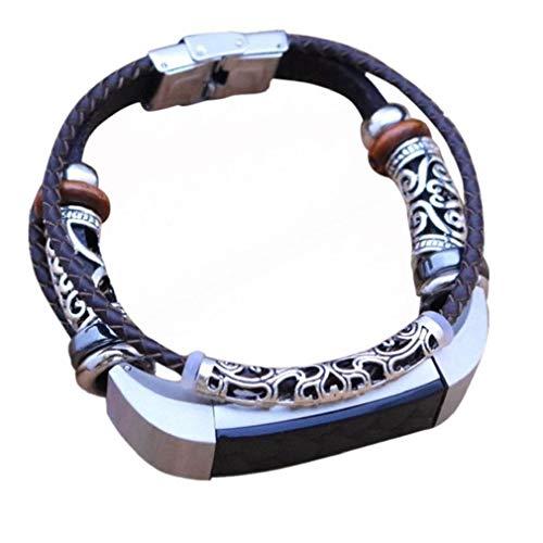 (Für Fitbit Alta Strap und Alta HR Lederbänder, Moeavan Slim Lederband Kordelriemen Armband Modestil Ersatz-Armband für Fitbit Alta (HR) Fitness-Armband (Braun, Keine geflochten))