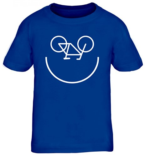 Shirtstreet24, Bike Smiley, Fahrrad Rennrad Kids Kinder Fun T-Shirt Funshirt, Größe: 152/164,royal blau (Kinder Bike Blau)