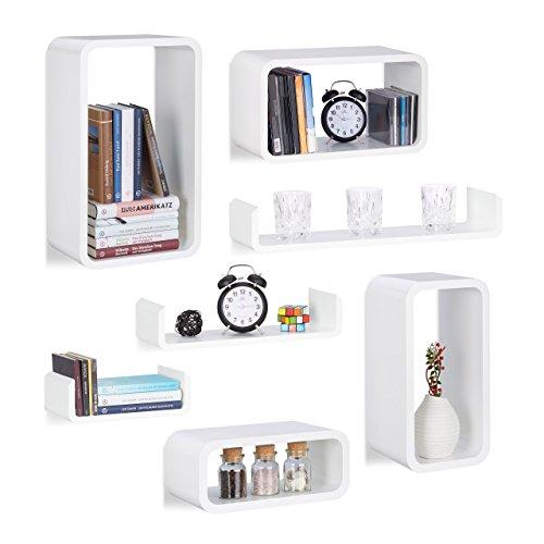 7 tlg Wandregal Set, Regalbrett schwebend, Hängeregal Wand, U-Form Wandboard, CD Regal schmal, verschiedene Größen, weiß