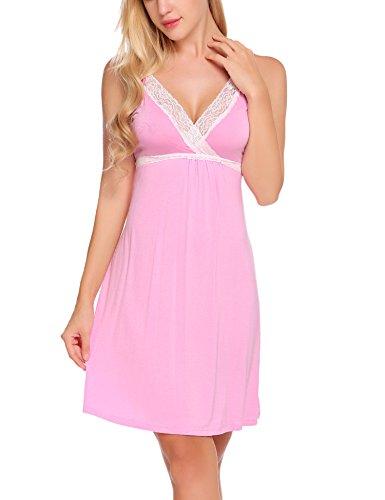 BeautyUU Damen Negligee V-Ausschnitt Nachtkleid Nachthemd Spitze Nachtwäsche Sleepwear Mit Spitze 1-Rosa