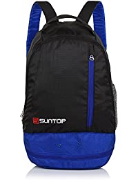Suntop Air One 20 Litres Lightweight Backpack Bag with Shoe Compartment for Casual/Gym/Trekking (Black & Indigo)