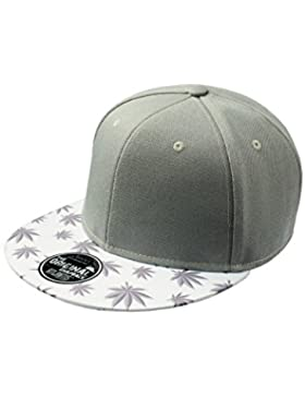 Gorra visera plana con dibujo de hojas de marihuana