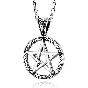 MunkiMix Acier Inoxydable Pendentif Collier Ton d'Argent Pentacle Star Étoile Homme ,58cm chaîne