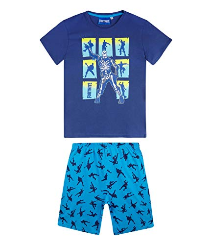 Fortnite Pijama mangas cortas para Niños (10 años, Azul)