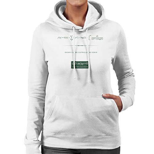 Beautiful Equations Primes Can Be Controlled By Zeros Green Text Womens Hooded Sweatshirt white