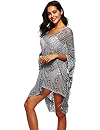 dc3b369c4a NFASHIONSO Women's Fashion Swimwear Crochet Tunic Cover Up/Beach Dress
