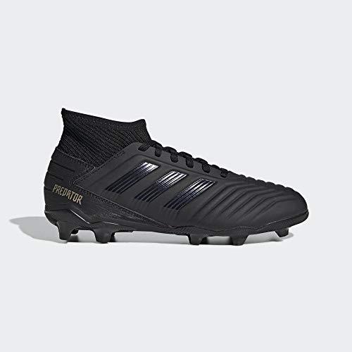 Adidas predator 19.3 fg j, scarpe da calcio unisex-bambini, multicolore core black/gold met. 000, 36 2/3 eu