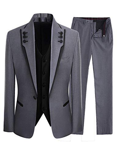 One Button Klassische Hosen-anzug (EAE® Herrenmode Grau 3 Stück Männer Anzüge Hochzeit Anzüge One Button Bräutigam Smoking)