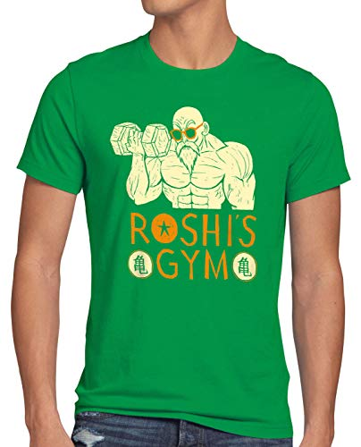 style3 Roshi Dragon Master Anime T-Shirt Herren Turtle Ball Z Songoku GT Vegeta Fan-Bekleidung, Größe:L, Farbe:Grün