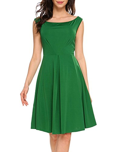 ANGVNS Damen 50s Vintage Retro Rockabilly Kleid Off Shoulder Kleid Partykleider Cocktailkleider...