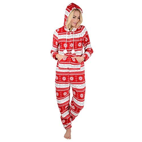 Damen Fleece Einteiler Pyjama mit Schneeflocken Muster - Roter Onesie