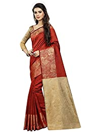 INDIAN BEAUTIFUL WOMEN'S ETHNIC WEAR RED COLOUR SAREE WITH BLOUSE PIECE `nationai Red Mor