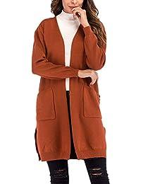 Manteau en Tricot Femme Longues Élégant Vintage Couleur Unie Veste Basic en  Tricot Automne Hiver Mode ffac3279d631