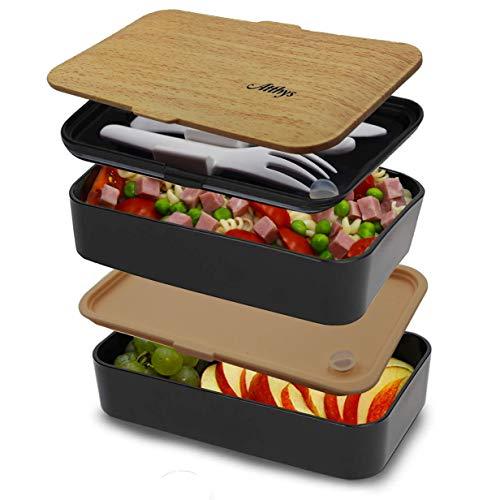 Atthys Bento Box 1200 ml mit Besteck. Für die Mikrowelle und die Spülmaschine geeignet. Lunchbox mit 2 Wasserdichten Fächern, ideal um im Büro, in der Schule oder beim Picknick zu Essen (schwarz)