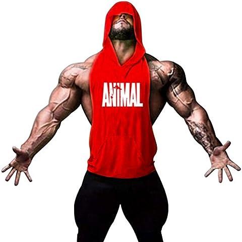Gillbro Patrón para hombre con capucha Bodybuilding Stringer, gimnasio sin mangas con capucha Chaleco animal, B, M