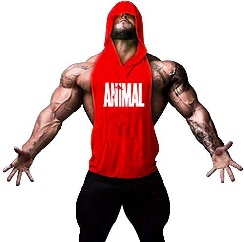Motivo Gillbro Mens Bodybuilding Stringer con cappuccio palestra Tank Top con cappuccio Gilet animali, B, M