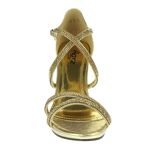 Frau Damen Diamante Plattform Querriemen Schlank Hohe Absatz Abend Party Hochzeit Prom Braut Stiletto Sandalen Schuhe Größe Gold