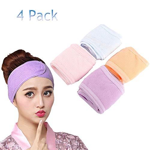 4 Pièces Bandeau Spa Bandes de Maquillage Porte-serviette de Sport Yoga(Rose,Violet,Bleu ciel,Orange) (4 Pièces)