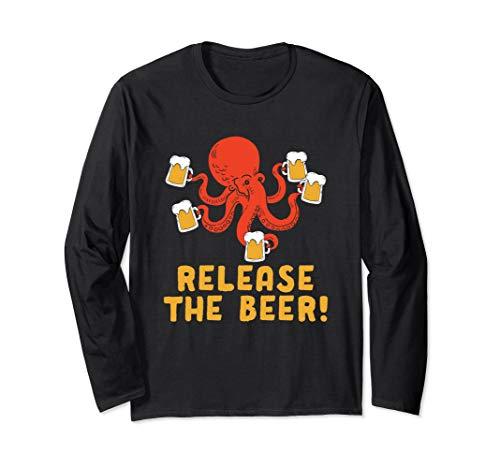 Lassen Sie das Bier Octopus Tasse Oktoberfest Wiesn Langarmshirt (Octopus Kleinkind Kostüm)