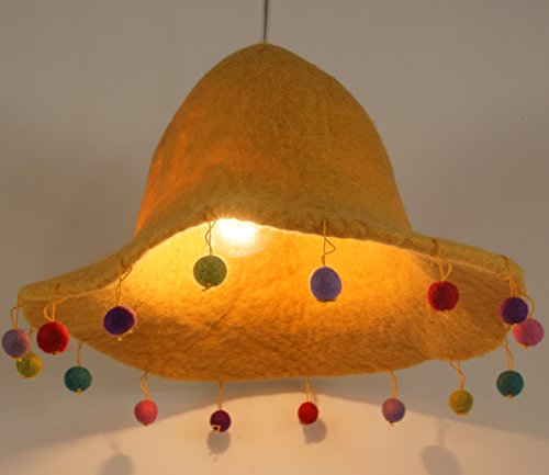 Guru-Shop Kinderzimmer Lampenschirm Happy Hut, Gelb, Filz, Farbe: Gelb, 20x30x30 cm, Stofflampenschirme