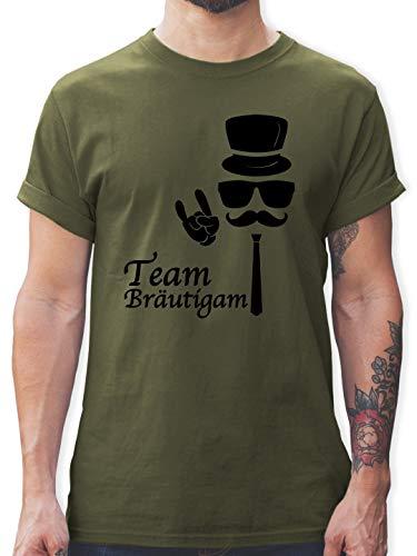 hied - Team Bräutigam Hipster Suit up - L - Army Grün - L190 - Herren T-Shirt und Männer Tshirt ()